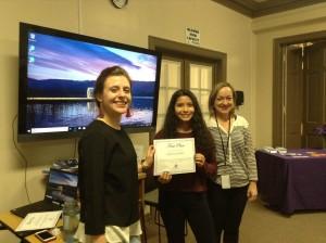 Video Contest Winner Lana Ballenot, with WCA staff Rebecca Del Rossi and Chris Davis.