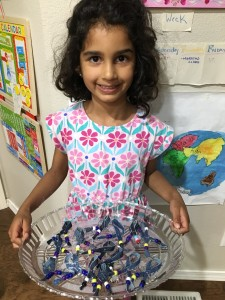 Mukta made ribbons for Denim Day to give to teachers at her school.
